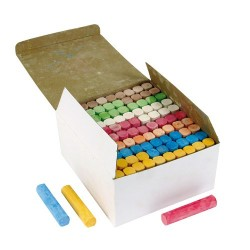 Sidewalk / playground chalk, Box of 100 pieces, 7 assorted colours