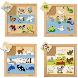 Animal puzzles - Complete set of 4