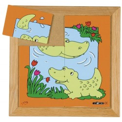 Animal puzzles - Mother and baby: Crocodile (6 pieces)