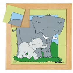 Animal puzzles - Mother and baby: Elephant (9 pieces)