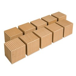 Wooden cube of 1000: set of 10