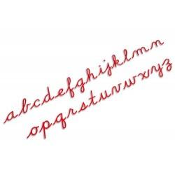 Средна подвижна азбука: ръкописни букви - червено