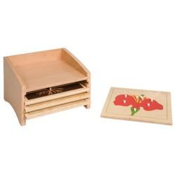 Шкаф за съхранение на ботаническите пъзели: 4 отделения