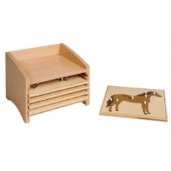 Шкаф за съхранение на пъзелите с животни: 5 отделения