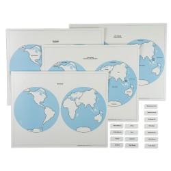 Карти на полукълбата и комплект с наименования