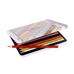 Цветни триъгълни моливи Goldline - метална кутия с 12 молива в различни цветове