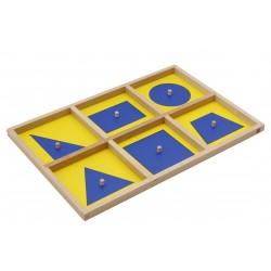 Геометрични oчертания: синъо и жълто