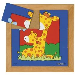 Пъзели с животни: мама и бебе: жирафи (6 парчета)