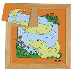 Пъзели с животни: мама и бебе: крокодил (6 парчета)