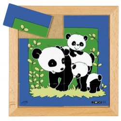 Пъзели с животни: мама и бебе: панда (8парчета)