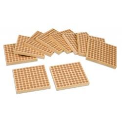 Дървени квадратни плочки за 100 (10бр)