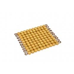 Един квадрат от 100 златни мъниста (pvc/гланц)