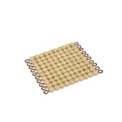 One golden bead square of 100 nylon