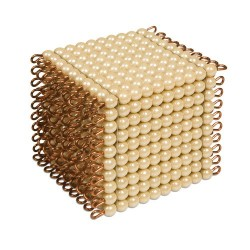 One golden bead cube of 1000: individual beads glass